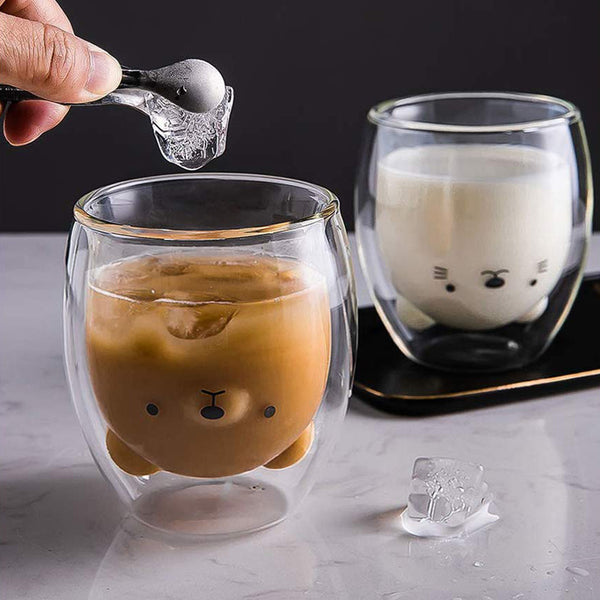 Panda Print Double-Walled Glass