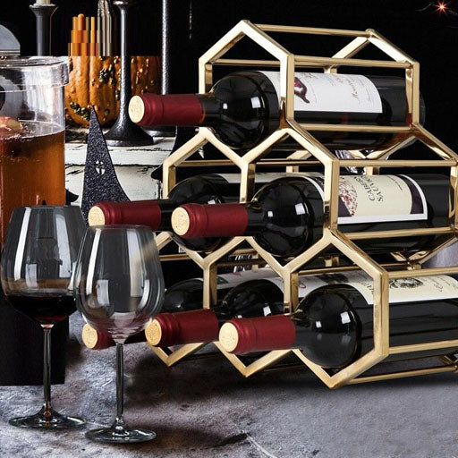 6 Bottle Honeycomb Metal Wine Rack