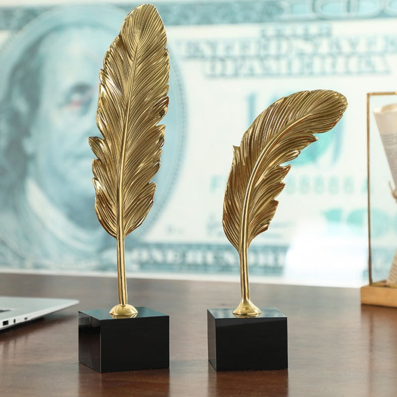 Golden Metal Feather Sculpture Statue Set