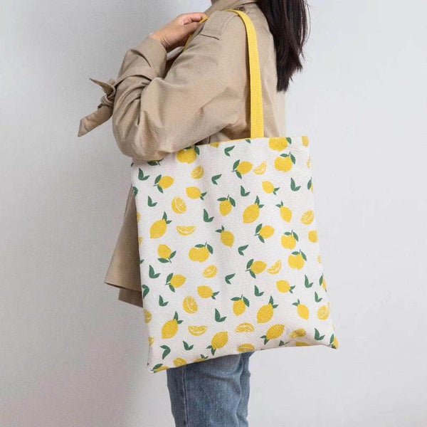 Lemon Print Reversible Shoulder Bag