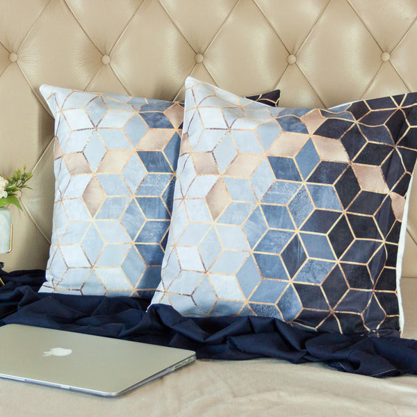 Blue Geometric Print Cushion Covers (Set of 2)