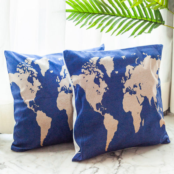 World Map Cushion Covers (Blue & White) (Set of 2)