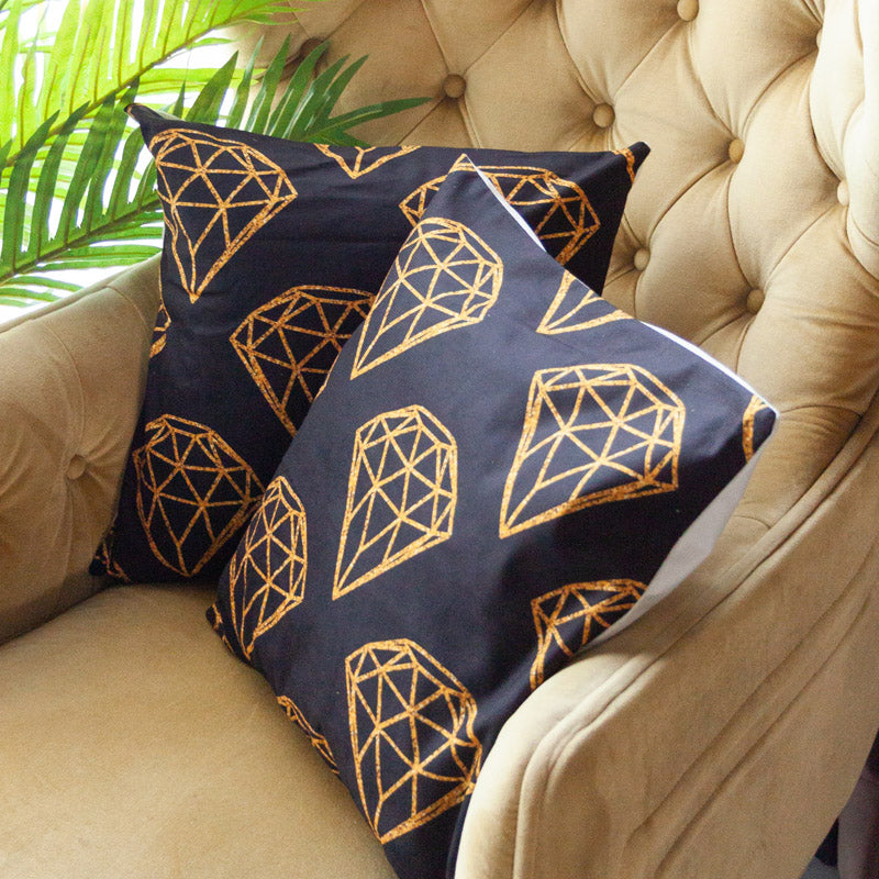 Geometric Diamond Gold Foil Cushion Covers (Set of 2)