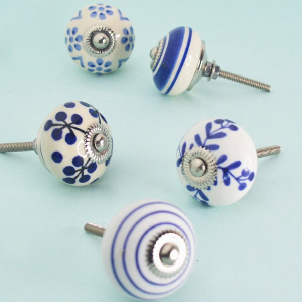 Indigo Ceramic Knobs (set of 5)