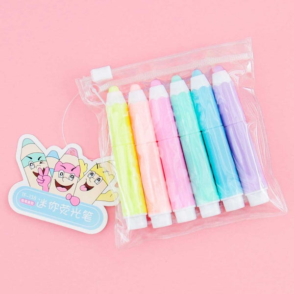 Pastel Colourful Pencil Highlighters - Set of 6