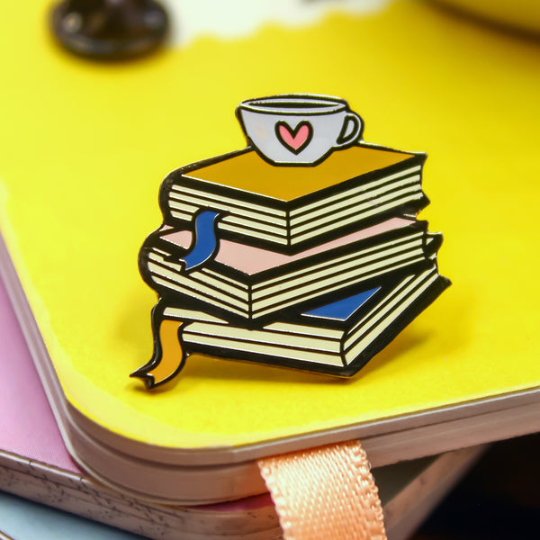 Love Tea and Books Lapel Pin