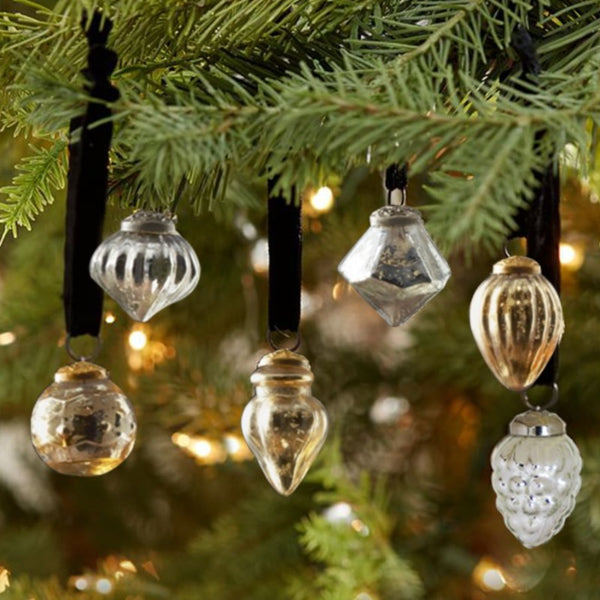Mercury Glass Assorted Christmas Tree Ornaments (set of 6)