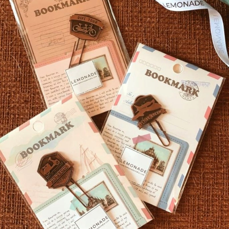 Metallic Paper Clip Bookmark -Travel