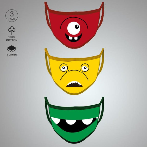 Pack of Three: Monster Character Face Mask