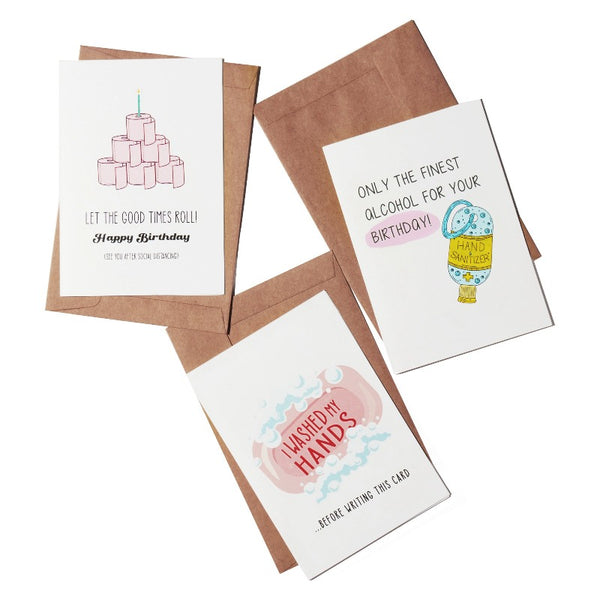 Quarantine Birthday Greeting Card- Set of 3