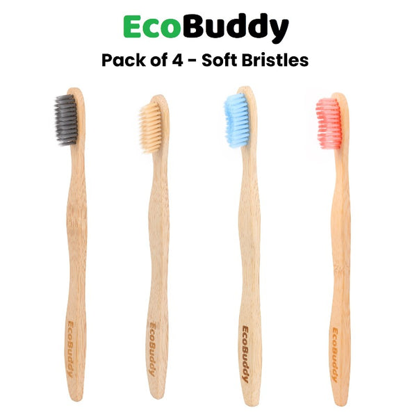 EcoBuddy Bamboo Toothbrush Soft Bristles (Pack of 4)