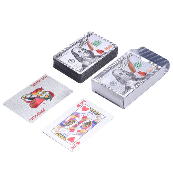 US Dollar Silver Foil Playing Card Set