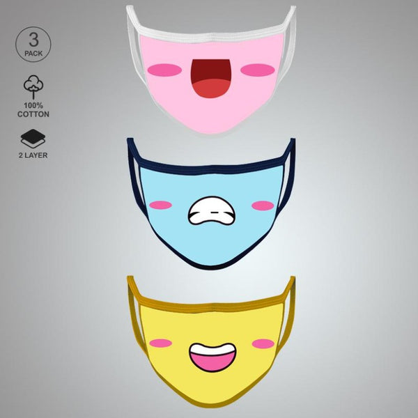 Pack of Three: Smilie Face Mask