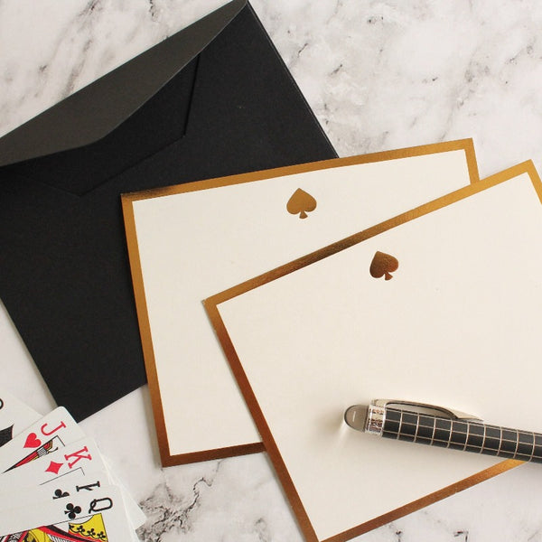 Spade Monogram Flat Card+ Envelope- Set of 5