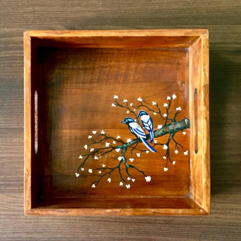 Nature Inspired Square Wooden Tray Small