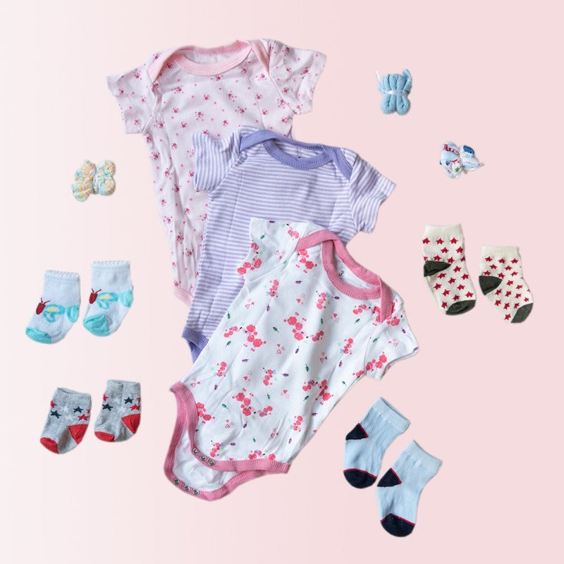 Baby Flower Print Romper Set - ( Pack of 10 )