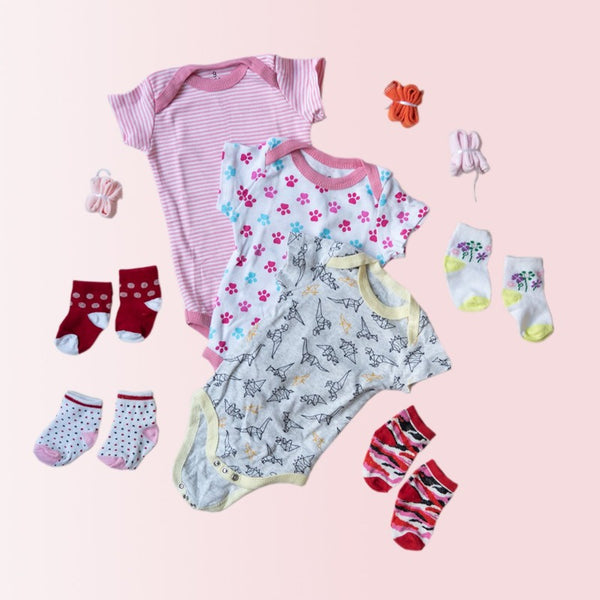 Baby Origami Dino Print Romper Set - ( Pack of 10 )