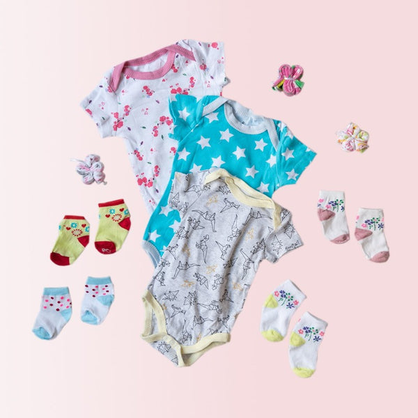 Baby White Stars Print Romper Set - ( Pack of 10 )