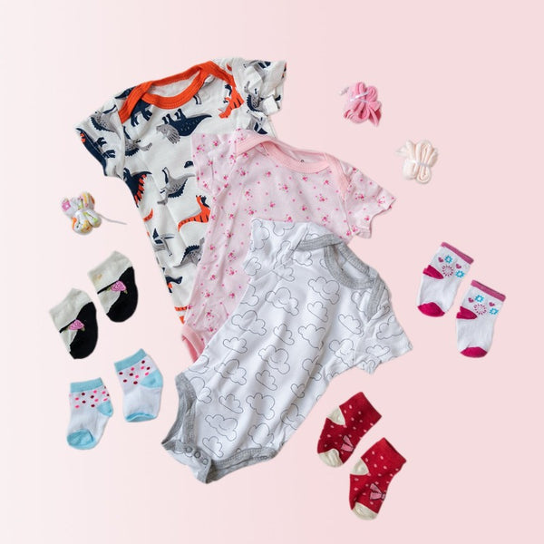 Baby Smiley Cloud Print Romper Set - ( Pack of 10 )