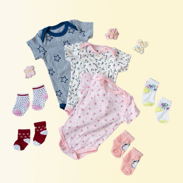 Baby Flowers & Bird Print Romper Set - ( Pack of 10 )