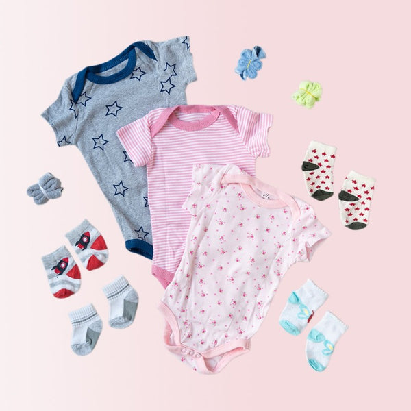 Baby Pink Stripes Print Romper Set - ( Pack of 10 )