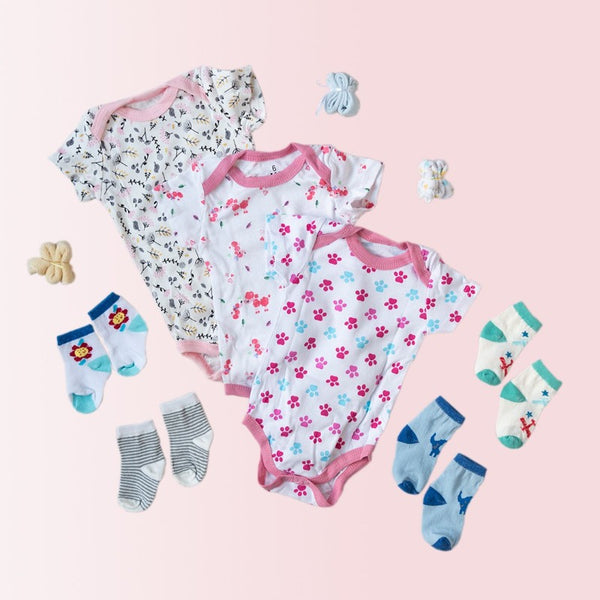 Baby Paws Print Romper Set - ( Pack of 10 )