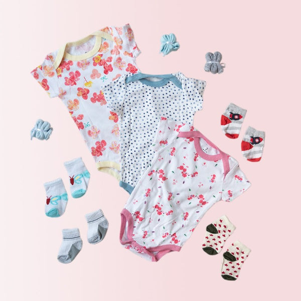 Baby Orange Flowers Print Romper Set - ( Pack of 10 )