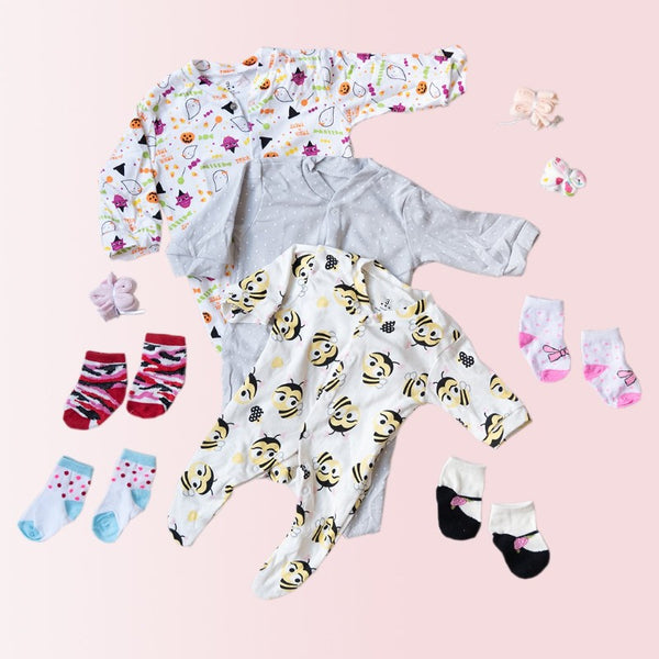 Baby Honey Bee Print Romper Set - ( Pack of 10 )