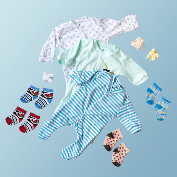Baby Blue Stripes Print Romper Set - ( Pack of 10 )