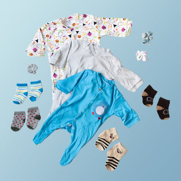 Baby Blue Penguin Print Romper Set - ( Pack of 10 )