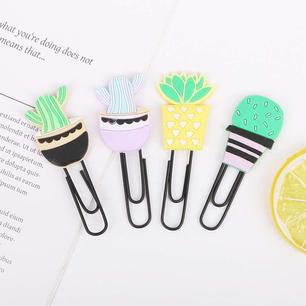 Bookmark/Paper Clips Set - Cactus - Set of 4