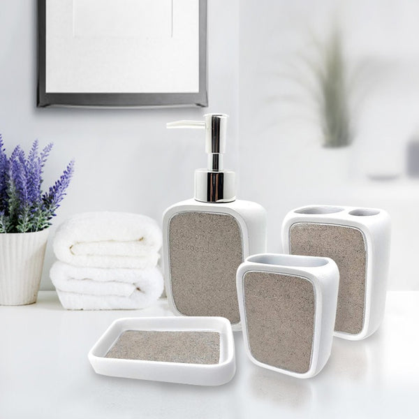 Luxurious White Ceramic Bathroom Set (4 pcs)