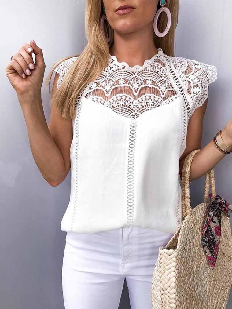 Solid Color Hollow Lace Chiffon Blouse
