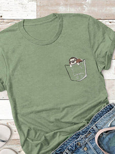 Sloth Pocket Print T-shirt