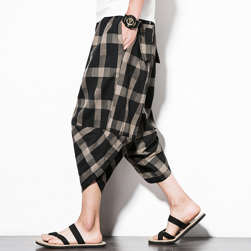 Men Casual Plaid Cotton Linen Beach Pant