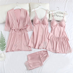 Sexy Embroidered Ice Silk Pajamas Set Of Five