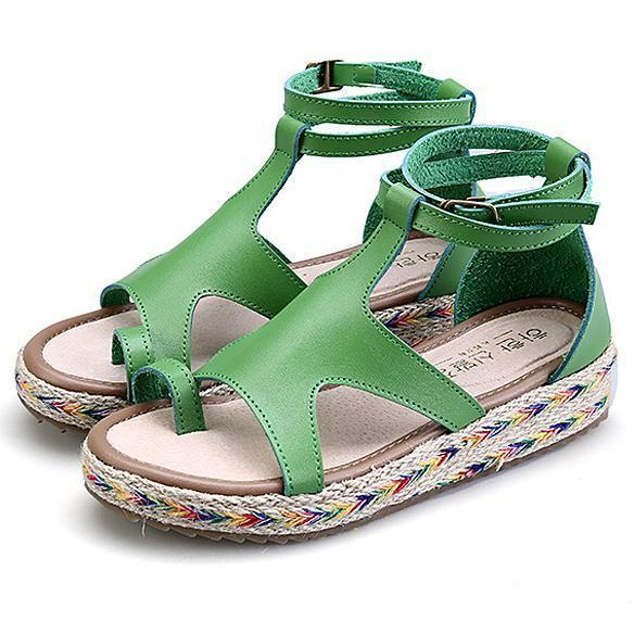 Women's Casual Color Straw Thick Sandals