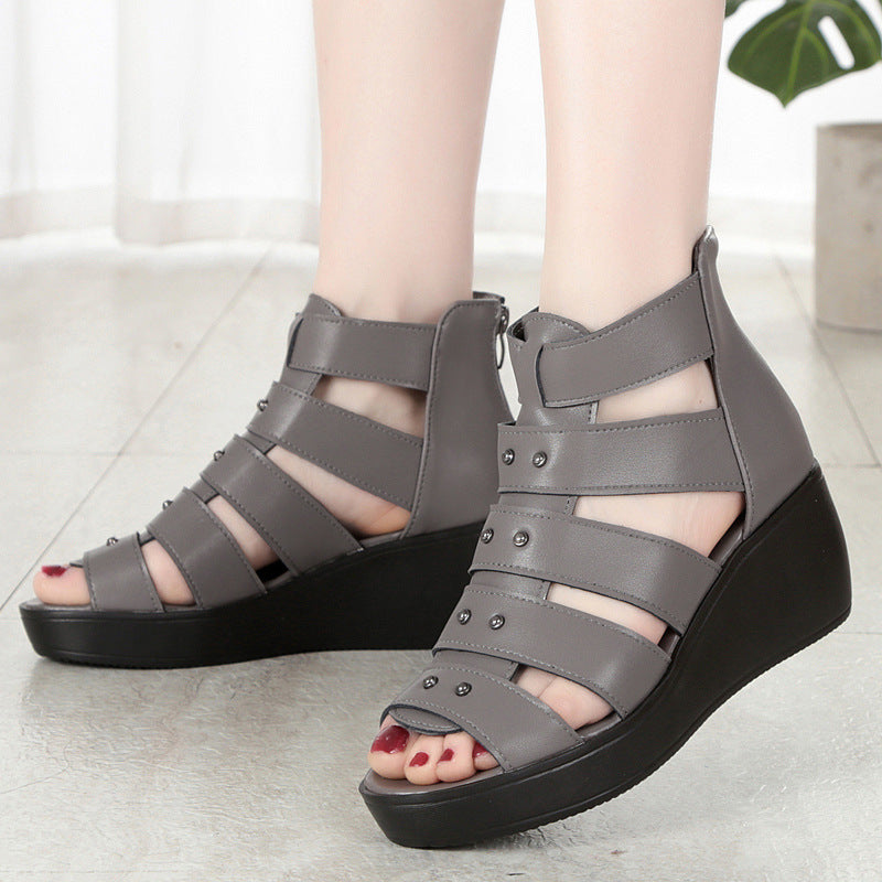 Women Genuine Leather Roman Sandals