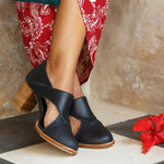 Women Vintage Leather Cutout Zip Chunky Heel Sandals Boots