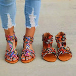 Floral Flat Peep Toe Casual Sandals