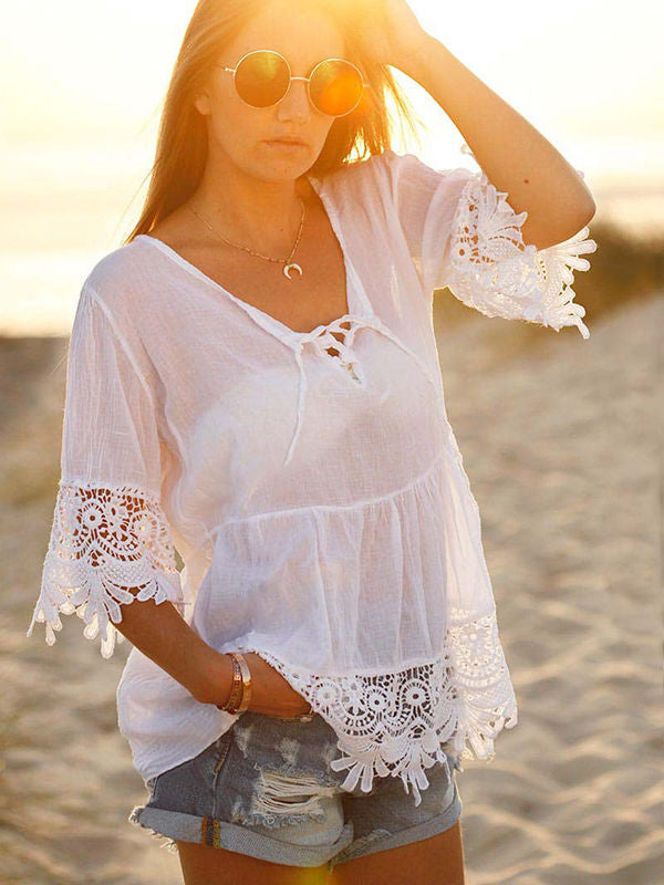 Summer Hollow Out Lace Stitching Blouses