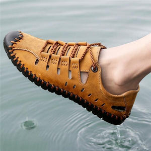 Summer Stitching  Hollow Leather Sandals