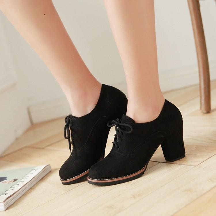 Plush Lace-Up Large Size High Heels Shoes