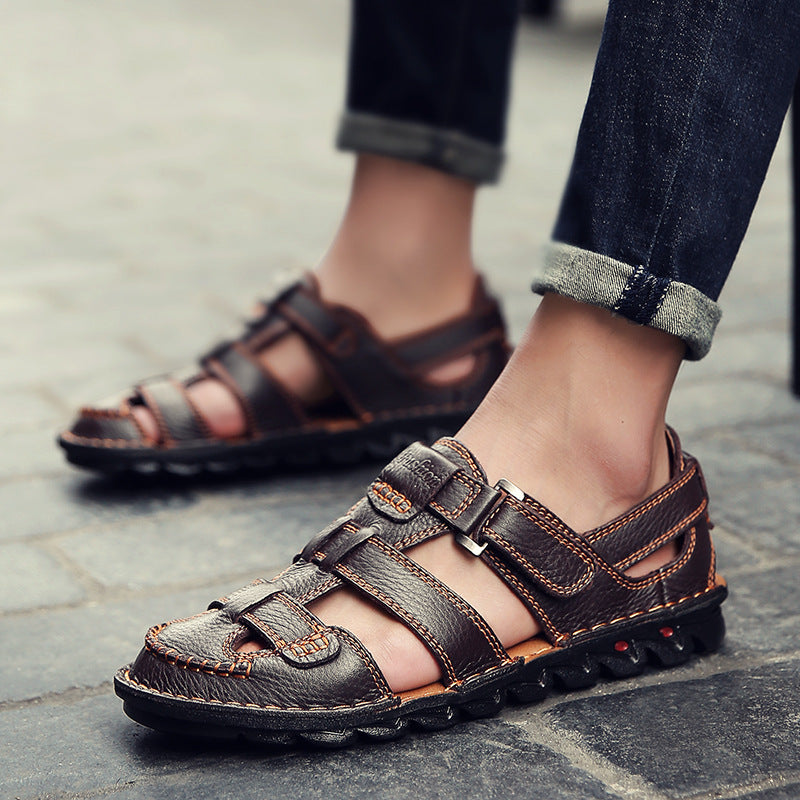 Men Genuine Leather Soft Roman Sandals