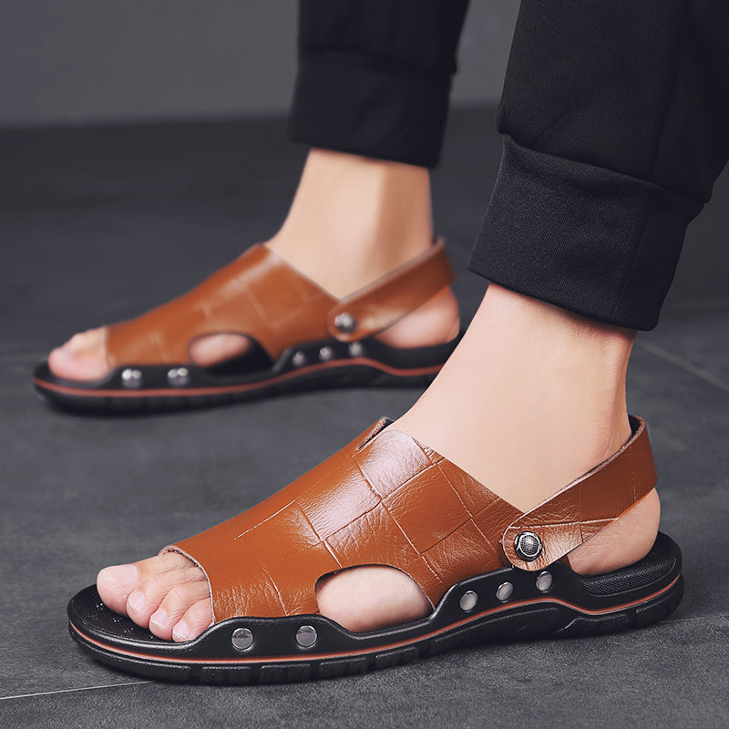 Fashion Buckle Peep Toe Leather Sandals