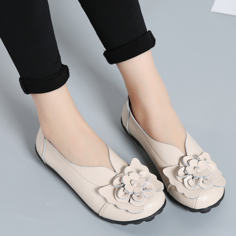 Summer Flower Leather Flats Shoes