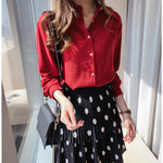 Sweet Lapel Long Sleeve Blouses