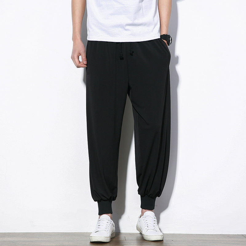 Chinese Style Mens Loose Casual Pants Solid Color