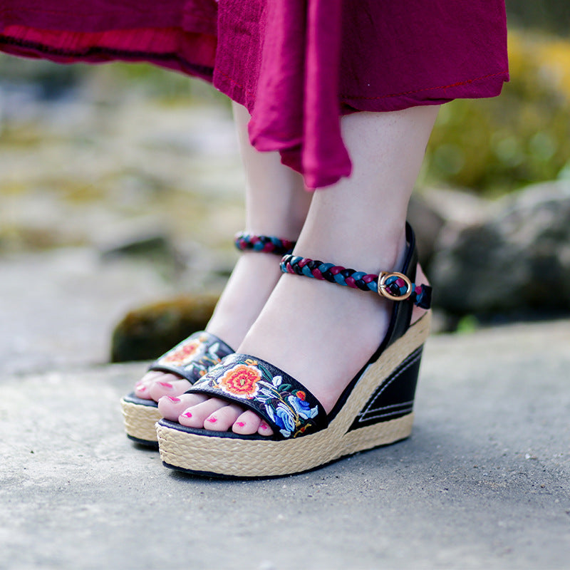 Summer Embroidered Woven Peep Toe Genuine Leather Sandals