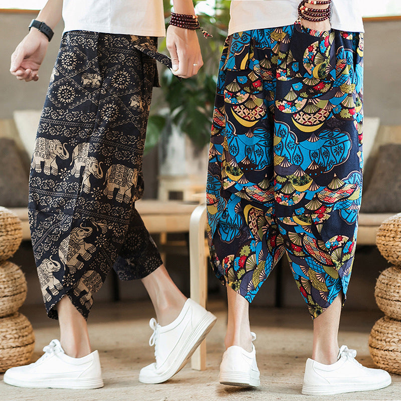 men shorts cotton linen pants